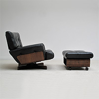 M. Taro for Cinova black leather lounge chair with ottoman