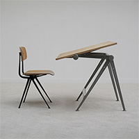 Industrial drafting table and chair design by W. Rietveld & F. Kra
