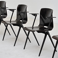 4 industrial school chairs with armrest