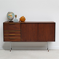 fantastic 60s vintage credenza with tall chrome legs