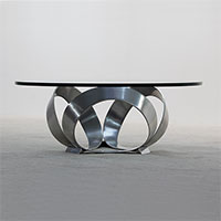 polished metal coffee table thick glass 1970s