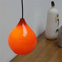 60s Small Orange tear drop lamp, component glass