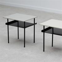 1950s RARE industrial pair of Wim Rietveld side tables