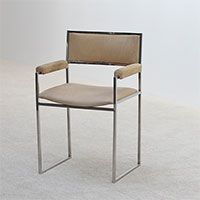 Willy Rizzo chrome arm wrest side chair 1970s