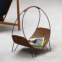 Nice woven cane magazine rack with hairpin shaped legs