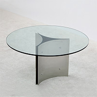 rare 1970s round table with glass. build on request