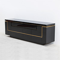 Striking long 1970s french modern credenza in black lacquered