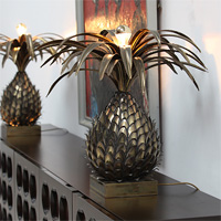 Two modern 1970s Pineapple brass Lamps