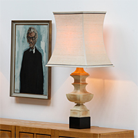 A pair of tall pagoda shaped table lamps James Mont