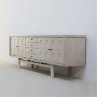 1970 Large white full oak sideboard with graphic doors