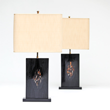 In the manner of Ado Chale pair of black Resin lamps
