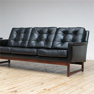 Mid-century black leather 3 and 2 place couch