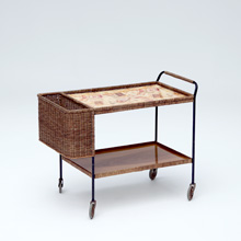 50s woven cane serving trolley