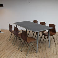 Friso Kramer industrial Ahrend table and 6 chairs