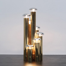 Modern Brass table lamp with 6 bulbs