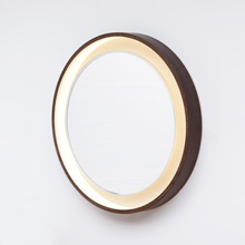 LIGHTED PLYWOOD MIRROR 1970S