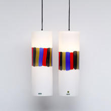 1960S COLORFUL STRIPES BY VISTOSI PENDANT LAMPS