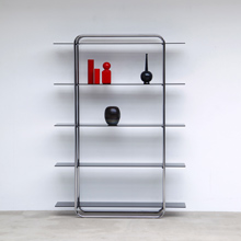 Beautiful Bold Chrome And Glass Shelving Etagere