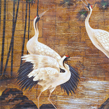 Decorative large crane bird oil painting on canvas 1980s