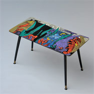 Colorfull exotic hand painted 50s coffee table signed Songa
