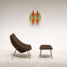 original Artifort Oyster chair + ottoman by Pierre PAULIN