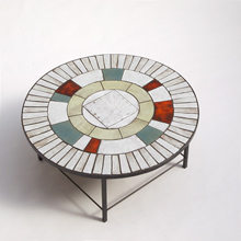 1950s round decorative ceramic coffee table