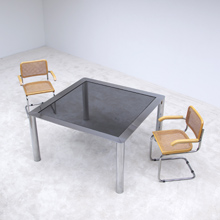 Modern 1970s chrome square dining table