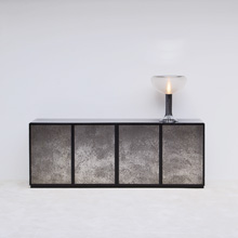 black credenza with 4 doors with abstract scene