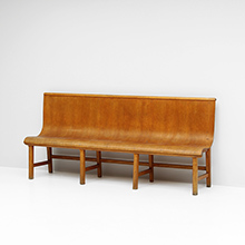 1950s decorative plywood bench