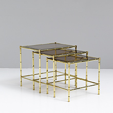 Faux Bamboo a set of 3 mid-century nesting tables