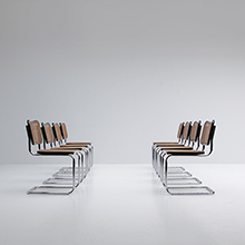 EIGHT 70s CANTILEVER woven CANE CHROME DINING CHAIRS