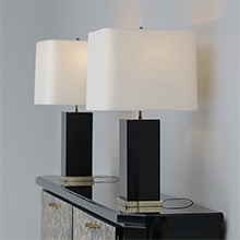 Two 1960-1970 Black Lacquer Lamps