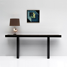1970s black laminated and brass console