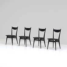 FOUR ELEGANT EBONIZED DINING CHAIRS
