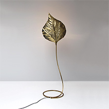 1970s Large Brass Leaf Floor Lamp by Tomasso Barbi