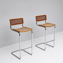 two 1970s Marcel Breuer Cesca Bar Stool