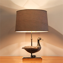 carved wooden duck lamp 1970s