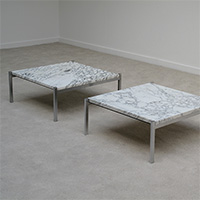 2 nice vintage marble top and chrome base coffee tables 1970s